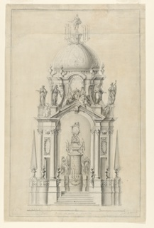 Architectural design for a funerary catafalque, domed structure with arch at center, flanked by Corinthian columns. Above the arch, a triangular pediment. Obelisk-like spires at right and left sides. Within the arch, a monument upon a pedestal with candelabra. Above the pediment, groups of figural sculptures. Another sculpture at the top of the dome surrounded by lit candelabra. Rectangular framing lines.