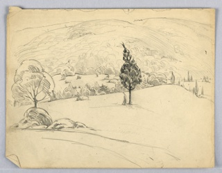 Set in panorama of field and hill that recede into distance. Various trees in background, center left and center trees stand alone.