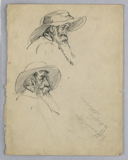 Two versions of old man with long hair and beard wearing a broad-brimmed, soft hat. Head only shown.