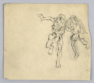 Two figures in tunics and running straight towards viewer. Both figures have mouths open, looking towards left of page.