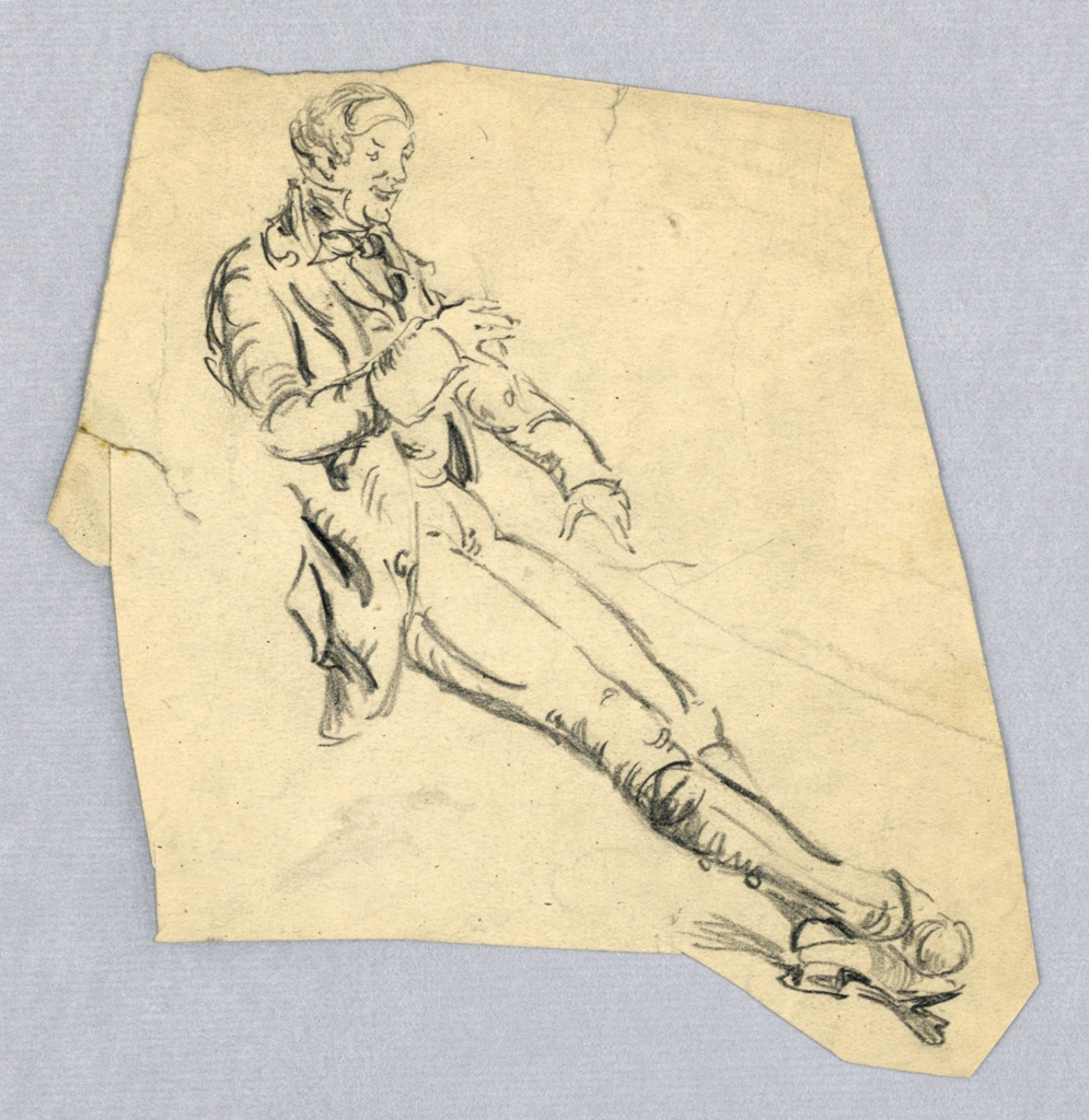 Figure is seen at three-quarter view front, seated on undrawn chair. Head is bent slightly forward, left arm extended in front of him, right arm bent, slightly above left arm, and legs are stretched out in front, crossed at ankles. Figure is turned toward right.