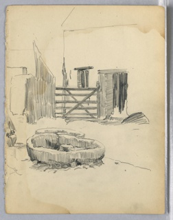 Water trough in center, farm building with gate in background.