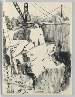 Background, upper left, a derrick; upper right, a drill. Cliffs in foreground and background, cut away, line of tree in far background.