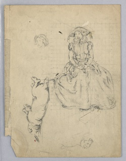 Figure, seated facing front with hands folded in lap, dressed in fanciful 17th century costume. Marked in measured grid. Two sketches of dogs and woman's head to left and bottom.
