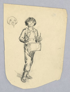 Small boy facing viewer, stepping forward with right foot, holding drumsticks in both hands over drum hanging from his neck. At upper left is small sketch: another version of boy's head.