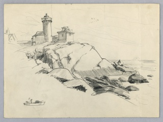 Lighthouse with auxiliary buildings on elevations of rocks in upper left, rocks extend downward to waterline toward right. Flight of birds in V-formation in sky at center.