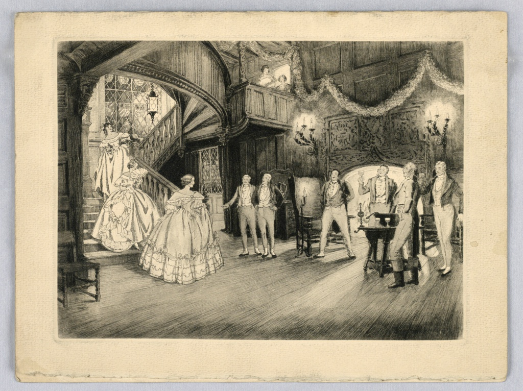 Black and white reproduction. Three women in long ball-gown dresses descending a staircase, left. Right, various men standing, some with glasses in their hands, dressed in tuxedos. Background, arched doorway, with streamers above door, upper center two women look down at scene.