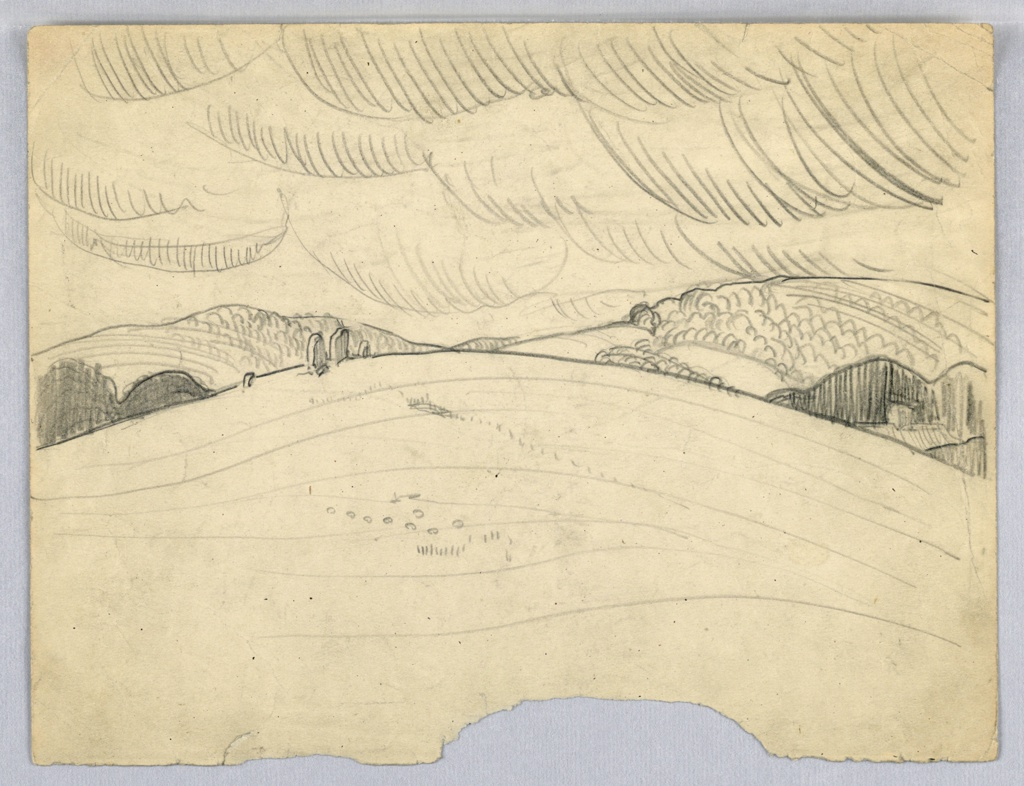 Sketch of mountain extending through center of page with billowing clouds above, fields below with trees and house at left lower corner.