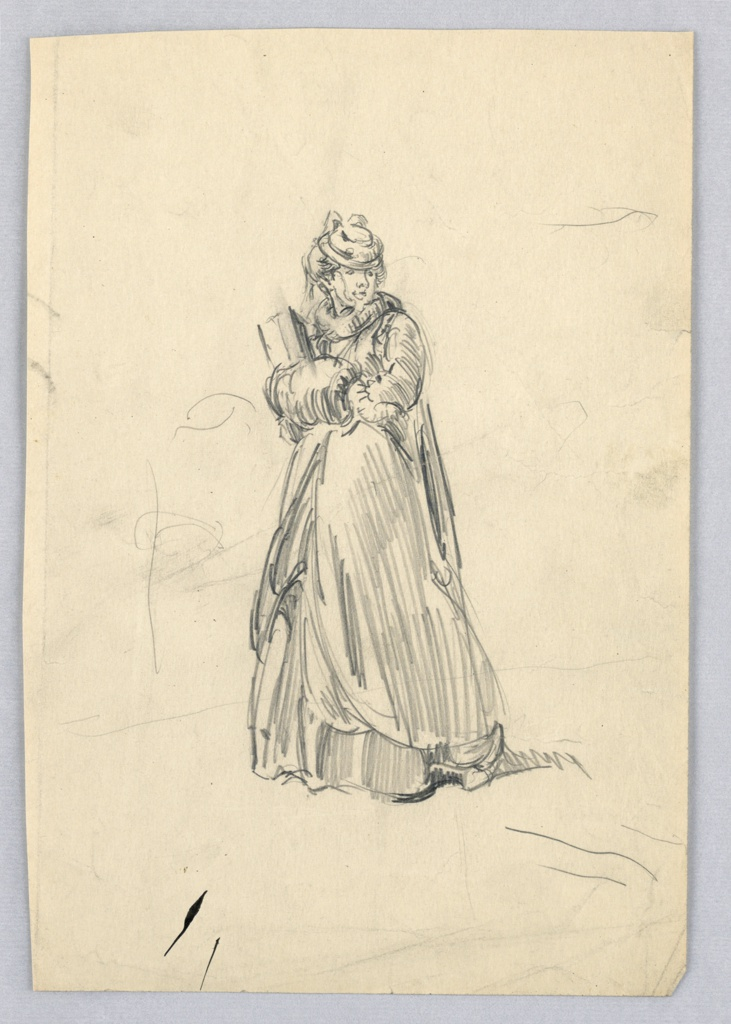 Figure of woman stands at center, dressed in long skirts and coat, with hat. Her hands are held inside hand-muffs; a package is tucked in her right arm. Her head is turned slightly to left.