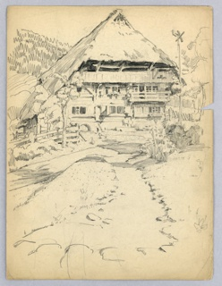 Steep-roofed house in Alpine style on hillside in upper center. Road leading to house and grassy area in foreground.