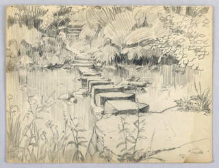 Stream, from left to right, with stepping stones across stream. Banks lined with plants and flowers.
