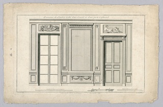 Print, Wall Interior with Door and French Window, 18th century