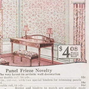 Mail order sample book containing wallpaper samples, room illustrations, color illustrations of sidewall and border combinations, and hanging instructions. The catalogue also contains listings for Sanitas, vitrophane, wood moldings and tools. Book contains full range of sidewall papers including embossed, oatmeal papers and independent ceilings.
