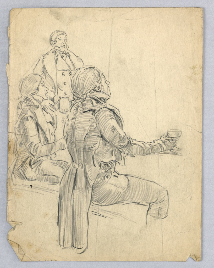 Three figures are grouped at left, all facing right. Figure in foreground sits on bench with tail of his coat hanging in back of bench, and holds wine glass in extended right hand. Figure in back, partially seen, stands; figure I center sits facing ahead.