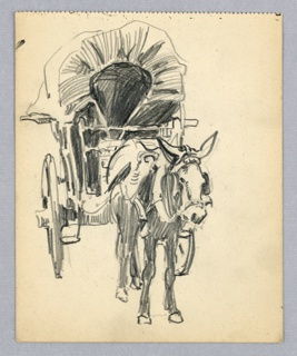 Front view of mule drawing covered wagon.