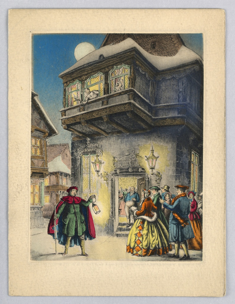 Figures stand in front of house with open door. Left, male figure stands with feet apart, left arm holds staff, right arm bent holds a lantern, facing right toward group of figures. Wears elaborate costume, cape and hat. Right, group of figures wearing winter attire. Center background man stands in front of open doorway, party is seen through doorway.