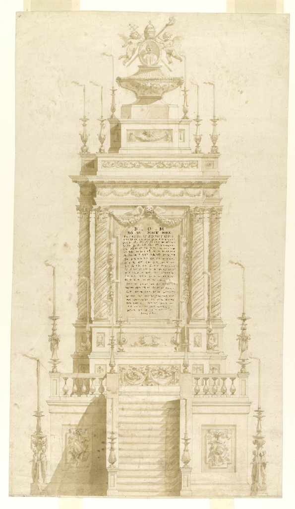 A platform, reached by a stair, supports a tall monument that has a blank tablet. Above, a vase-like sarcophagus with a portrait of the pope in a medallion, is surrounded by papal attributes: cross-staff, crozier, mitre and two angels. Lit candles in a candelabra rests on the floor.