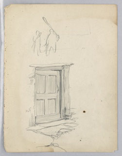 Sketch shows wood door inset in heavy wood framing. Stone walk immediately in front. Above, outline sketch of two men walking, carrying farm implements.