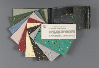 "A multitude of color variations featuring ""splattered"" designs, with different colored pigments splattered on many different ground colors. A few repeat patterns are included in the back of the book, including Chinese Tea Chest papers. a) Contains Tea chest papers; b) contains pepper pot papers; c) contains a variety of papers including pepper pot papers and flocks with sparkles."