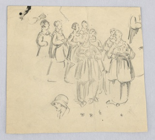 Sketch of marching choir girls dressed in long robes singing hymns with songbooks in their hands. They are filing in pairs from left upper corner toward lower right. At lower left is sketch of girl's face, unrelated to procession. Lower right, sketches of lips.