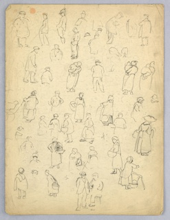 Covered with many small figures, all one or another type of European peasant. All standing, some carrying baskets, other carrying babies.