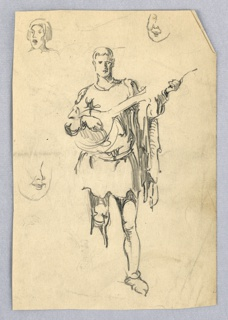 Male figure in Roman tunic, stepping forward with left foot; right foot is undrawn. Figure faces viewer and holds lute, strumming. Around edge are three partially sketched faces. Upper left, sketch of bust of man facing left, mouth open, upper right partial sketch of face, center left partial sketch of face facing right.