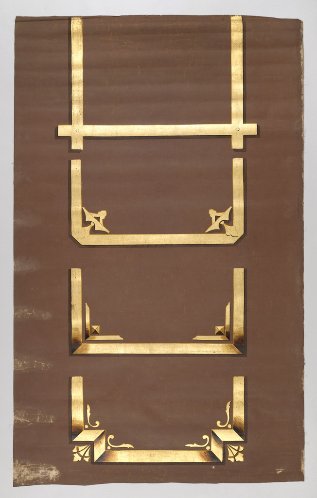 Parts of four different metallic gold frameworks. Printed on brown ground with fabric support.