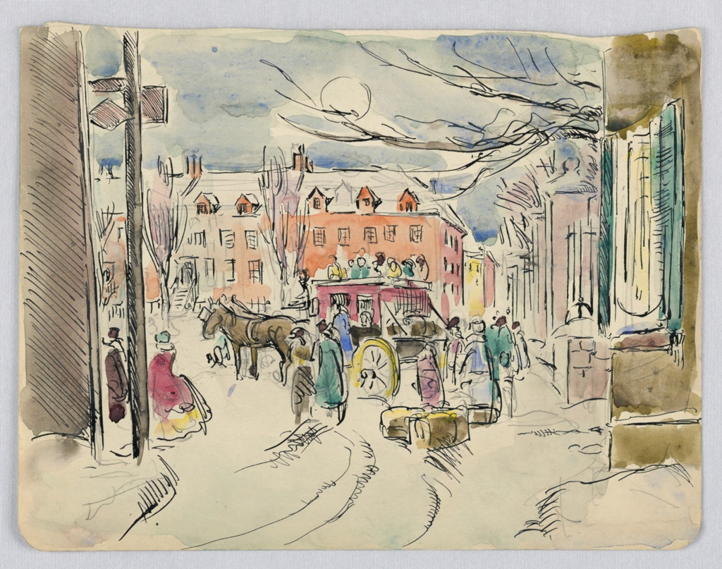 Houses in background and two sides encircle center scene of horse-drawn carriage standing on snowy road with figures on it, other figures and baggage around it. Moon shines at top center.