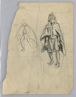 """Illustration for Elsie Spicer Eells, """"Tales from the Amazon. Two sketches of same figure, facing front, of man in cape and headdress."""