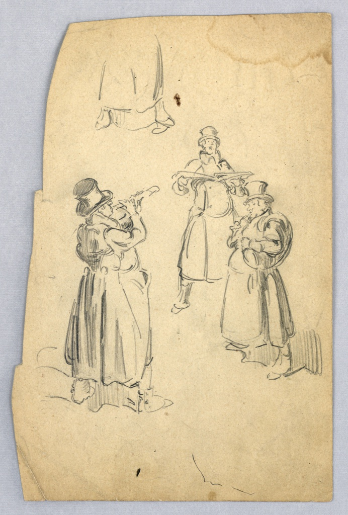 Three figures in overcoats and top hats making music: figure in left foreground plays flute, turning away from viewer; figure at right background sings with legs astride and holds open book; figure at right foreground plays horn. At upper left, a partially drawn figure.