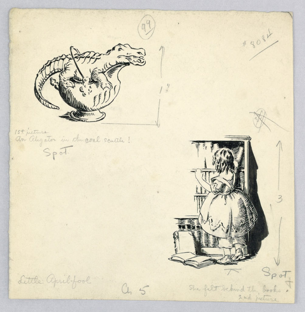 """Design for chapter 5 of, """"Pinafores and Pantalets"""" by Florence Choate and Elizabeth Curtis. Two drawings on one page- one on upper left-hand corner marked: First picture, An Alligator in the Coal Scuttle!; the other, lower right-hand corner marked: She Felt Behind the Books, Second Picture; Alligator faces right with curved tail at left. The little girl, back view, fumbles in bookshelf, rising on toes."""