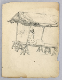 Board raised on supports at two sides, with canvas roof above it, held on stilts at four corners. Unidentified object lies upon board, figures seen behind stand.