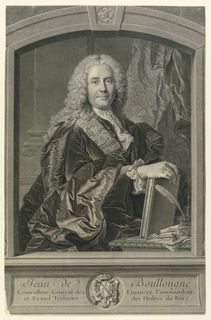 Set in an arched simulated stone frame is the half-length figure of the sitter, done from Rigaud's portrait of 1735. He is seen facing toward the right, head frontally, his right hand resting on a book.