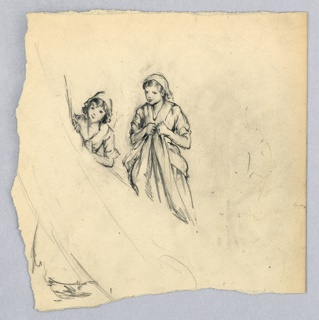 In center, girl in long dress and cap, holding folds of dress in her hands and facing front. To her right a second girl in long dress and cap, peering from behind a draped cloth which obscures lower part of figure.