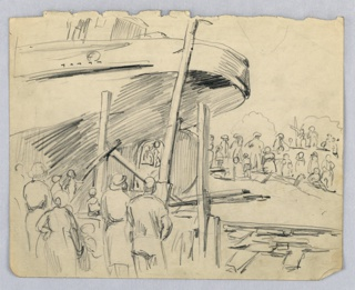 Rear part of large boat supported by wood under structure, surrounded by crowd of people in left foreground and right background.