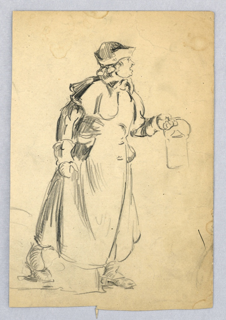 Figure of man in overcoat and hat walking from left toward right, stepping out with left foot. Right arm is at his side, left arm holds lantern which lights the way in which he is headed.
