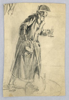 Figure of cloaked man in three-corned hat, holding small handbag in right hand and candle in left, leans slightly forward; walking from left toward right.