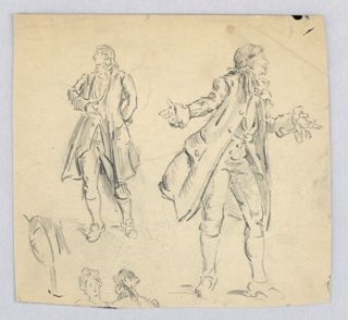 Two sketches of English gentleman speaking: Figure at left steps forward with right leg, with right hand before chest, left, in back; figure at right stands with left leg forward, arms spread in imploring gesture, profile of face turned right. Two heads of other figures are seen at lower left.