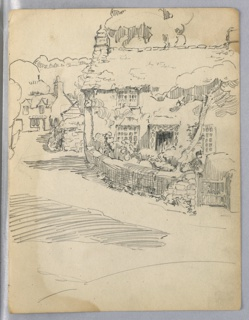 Right foreground, stone cottage with slate roof behind stone wall. Road passes diagonally from right foreground in front of house. A second cottage in background. Behind houses are sketches of trees.