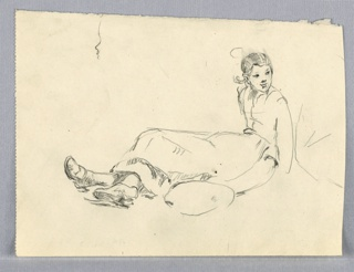 Profile view of left of young girl sitting upright on ground, legs stretched out in front of her and head facing front, towards viewer.
