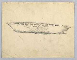 Side view of boat, made of stretched hide or similar substance; wood framework inside.