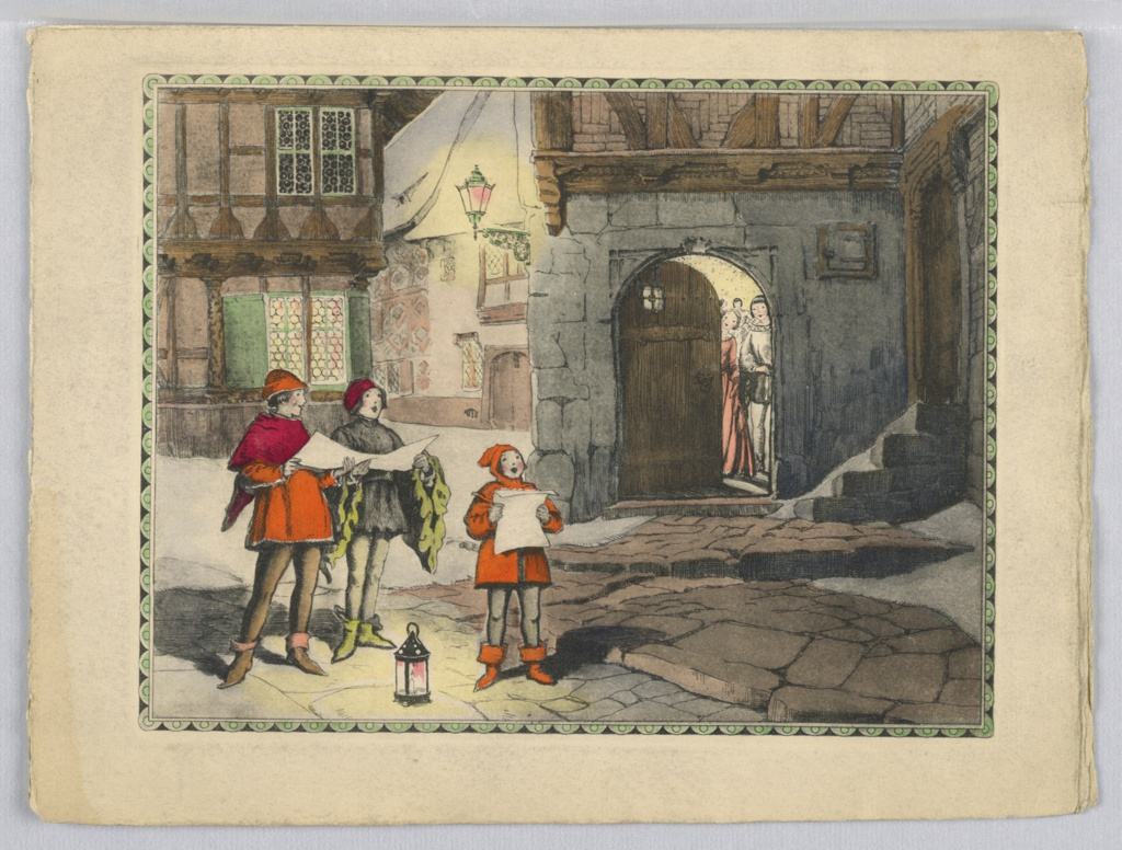 Left, three young boys singing in the street, all hold paper in both hands, wearing medieval costume, standing around a lantern, facing viewer. Right background, doorway opening with two female figures looking out of door.