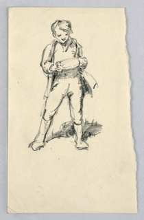 Figure of small boy dressed in knickers and long jacket, standing with legs apart, looking down at unidentified object he is holding in both hands.