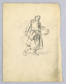 Figure of peasant woman in long skirt, rolled-up apron, walking toward the right, holding a basket over her left arm. Her face is turned up and backwards as if toward the sun.