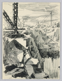 Foreground, upper left, a derrick on cliff top. Cliffs cut away to lower right. Cliffs and trees in background, with drill in far background to right.