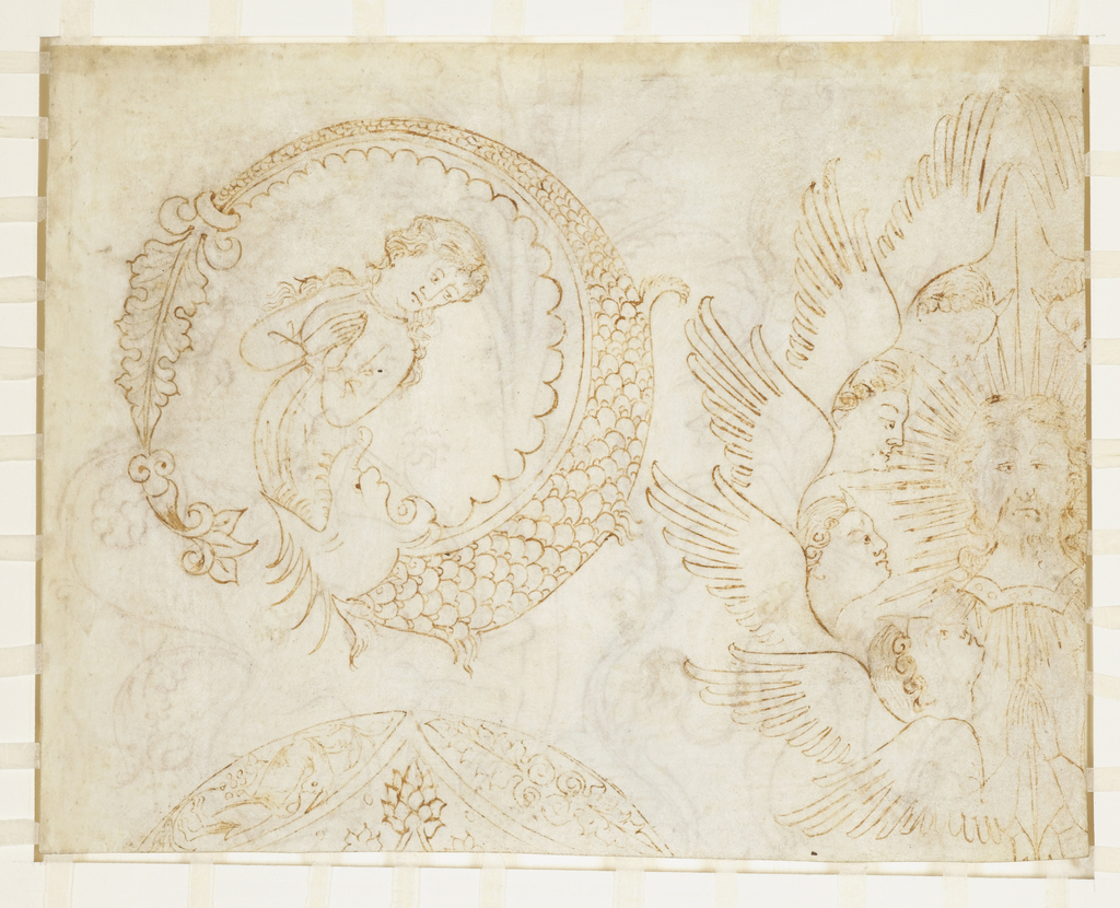 Drawing, Design for Woven Silk and Embroidery: Woman Swallowed by Fish and Head of Christ Surrounded by Seraphim, Italian