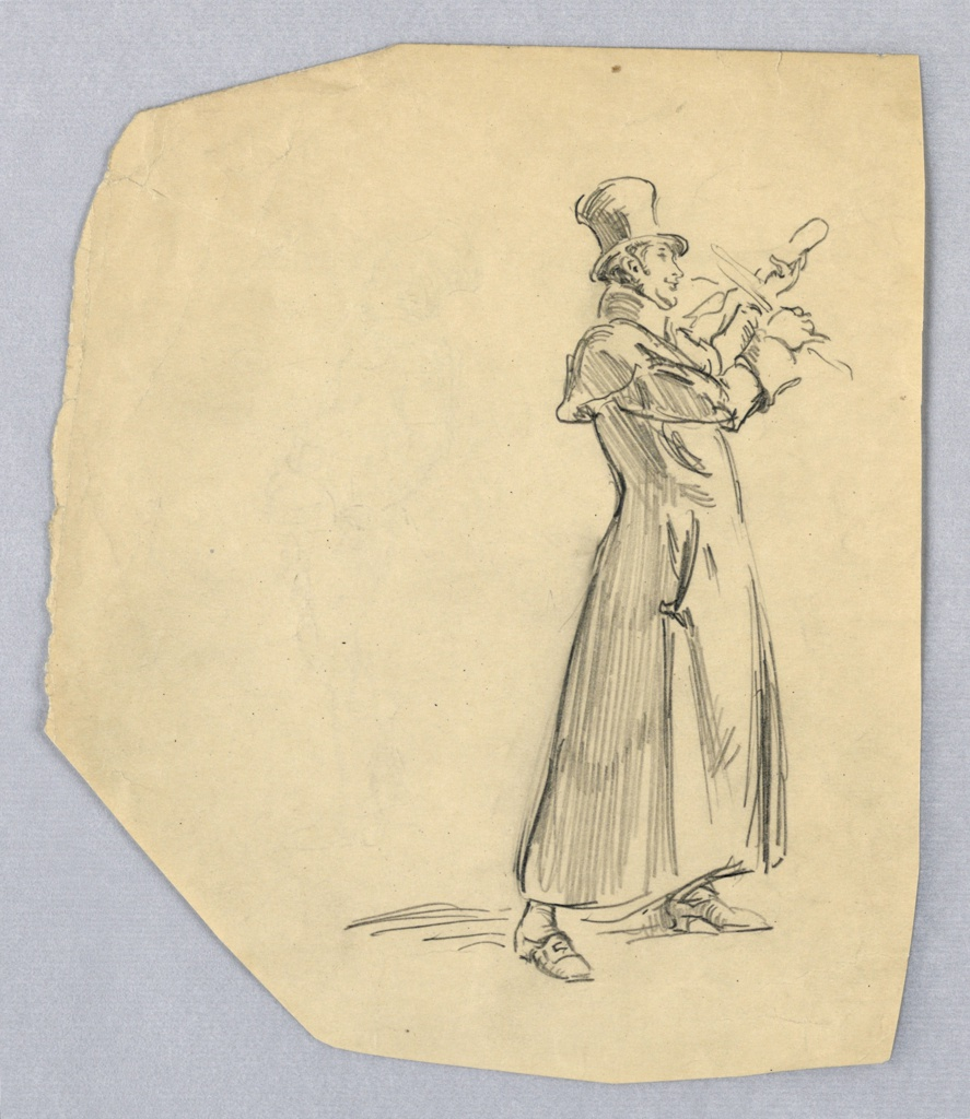 Figure of man in full length overcoat and top hat, facing right with legs slightly spread, playing a violin.