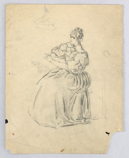 Seated in left profile, woman is dressed in costume resembling 17th century dress, billowing about her. Arms extended in front of her.