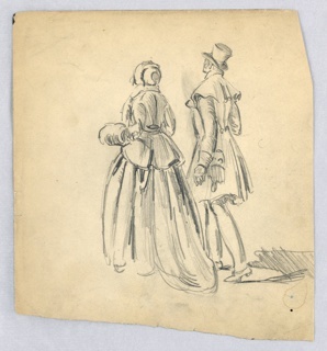 Couple seen from back, going forward. Man at right has top hat, coat; woman, at left, holds muff in left hand. Both dressed in winter attire.