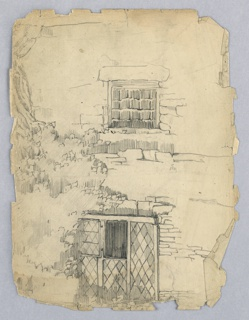 Wall sketched with bricks indicated in several places. Detailed drawing of window with glass arranged in small diamond shapes within frames at top, a cellar window with horizontal and vertical bars at bottom.